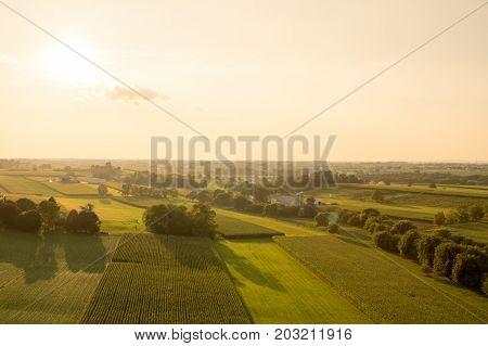 Farmland In The Evening Sun Aerial