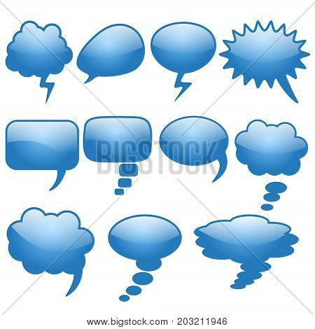 Set of different thought cloud eleven blue objects on a white background for infographics