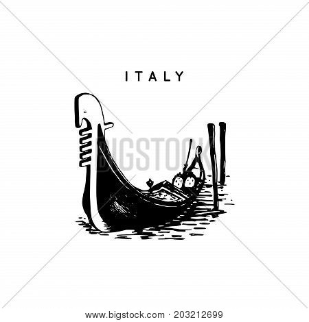 Venetian gondola drawing. Venice touristic symbol. Vector hand sketched illustration of Italy sights.
