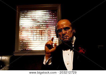 LOS ANGELES, CA - 28 Oct, 2013: Marlon Brando waxwork figure - Madame Tussauds Hollywood.