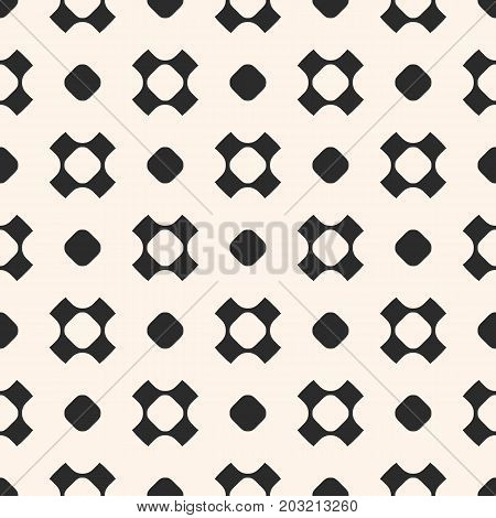 Vector seamless pattern, simple geometric texture with rounded shapes, circles, perforated crosses in staggered array. Stylish abstract minimalist background. Design element for prints, decor, fabric.