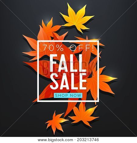 Fall sale. Realistic autumn maple leaves with text. Vector illustration.