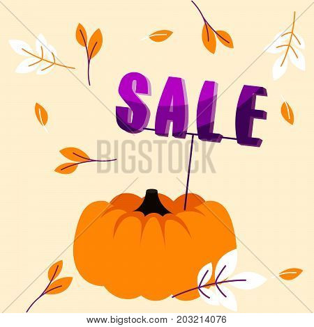 Autumn holiday sale banner with big pumpkin, slogan and fall leaves template. Advert flyer for promo messages vector illustration.