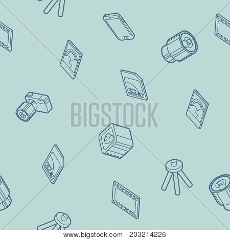 Photo outline isometric icons pattern. Vector illustration, EPS 10