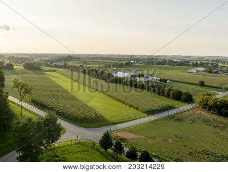Road Intersection And Farmland Aerial