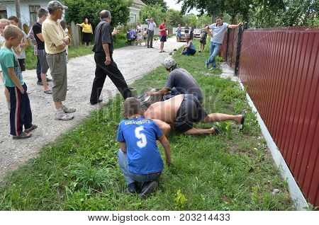Shmankivchyky - Ukraine - 29 June 2016. The villagers caught an unknown animal which is popularly called Chupacabra. This beast killed many people in rabbits and poultry.