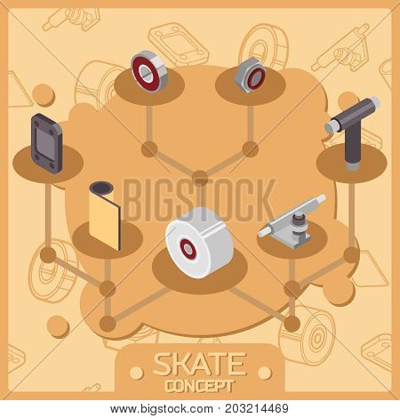 Skate color isometric concept icons. Skate themed design elements for your project.