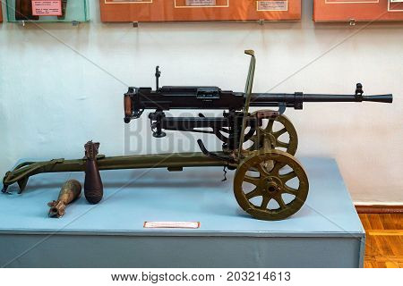 Machine gun easel systems Gorjunova SG-43 ton display in museum