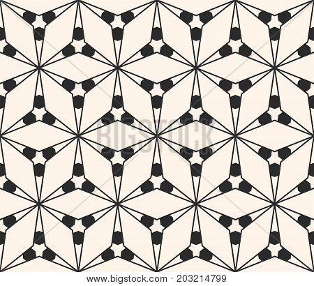 Geometric seamless pattern with triangular shapes, thin lines. Subtle vector geometrical texture. Abstract repeat monochrome background. Stylish design element for decor, prints, fabric, wrapping, web. Mesh pattern.