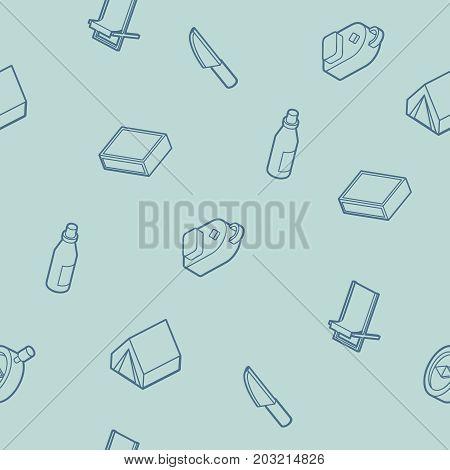 Survival kit outline isometric icons pattern. Vector illustration, EPS 10