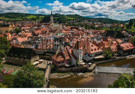 Panoramic view of Cesky Krumlov in Czech Republic