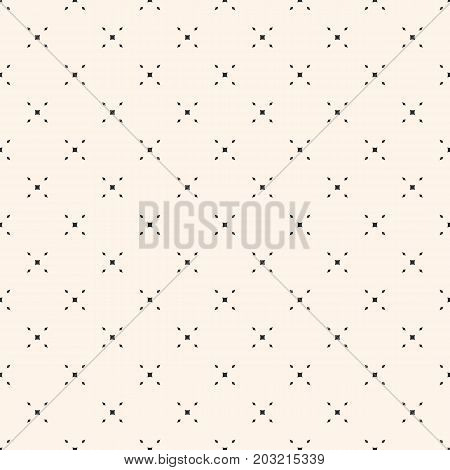 Vector minimalist background. Simple geometric seamless pattern with tiny diamond shapes, rhombuses, crosses. Subtle abstract texture. Delicate design for decor, prints, fabric, textile, cloth, paper.