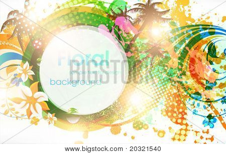 Abstract vector floral summer background with flowers, sun, palms and ladybird.