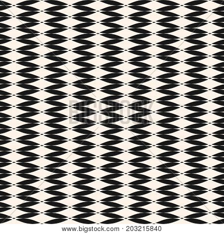 Vector seamless pattern. Abstract graphic monochrome background with curved shapes, mesh texture, smooth grid. Art deco style. Simple geometric design for decor, fabric, textile, clothing, upholstery. Mesh pattern, design pattern.