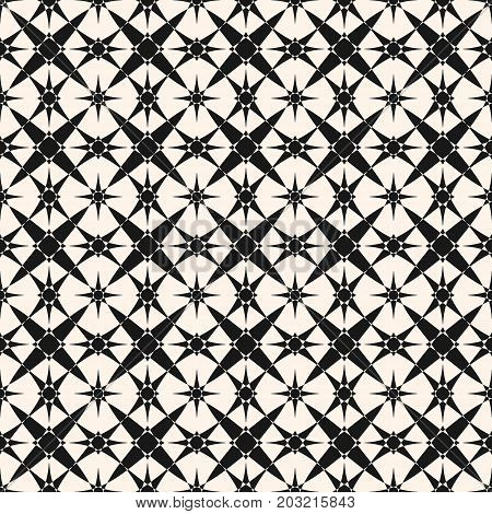 Vector ornamental geometric pattern with star shapes. Abstract geometrical ornament texture. Elegant monochrome background. Repeat design element for decor, prints, textile, ceramic, carpet, fabric.Vector ornamental geometric pattern with star shapes. Abs
