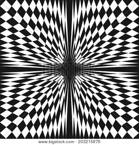 Vector abstract checkered seamless pattern. Distorted surface, optical illusion effect. Black & white geometric texture. Creative monochrome background. Pop art style. Square repeat design element. 3d pattern, ornamental pattern, square pattern.