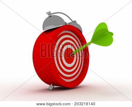 alarm clock with target and dart arrow in bull eye center. time. . 3d rendered illustration