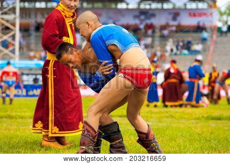 Naadam Festival Young Wrestlers Action Referee