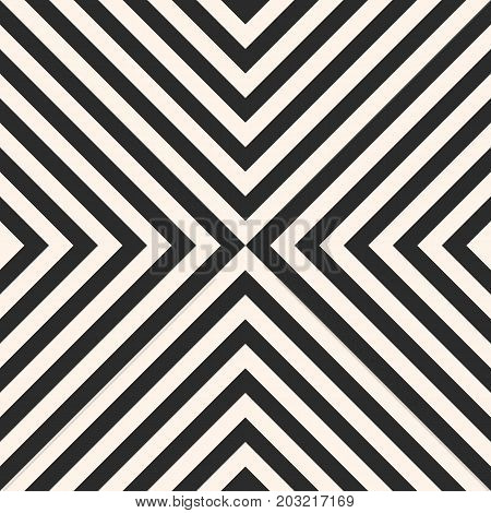 Stripes pattern. Black and white vector seamless texture. Simple texture with crossing, diagonal striped lines. Monochrome geometric background, repeat tiles. Design for fabric. Lines pattern, striped pattern, diagonal pattern, herringbone pattern.