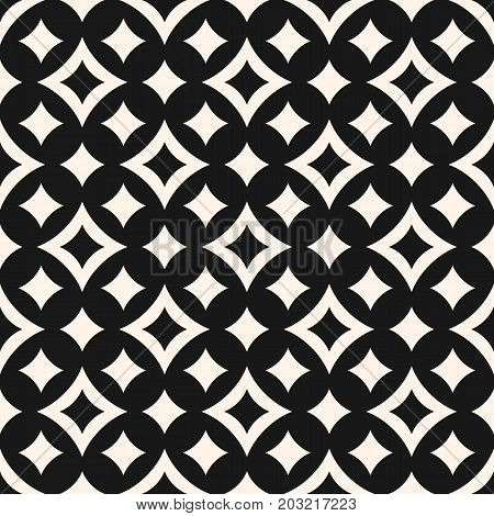 Vector seamless pattern with diamond shapes, big and small curved rhombuses, smooth lines. Simple abstract monochrome geometric background, repeat tiles. Stylish design for decor, fabric, covers. Ornamental pattern, rhombus pattern, diamonds pattern