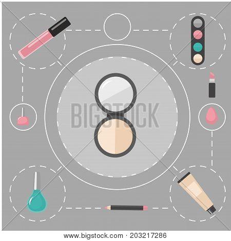 Flat makeup and cosmetics products and tools. Lipstic brushes eyeshadow mascara powder and mascara