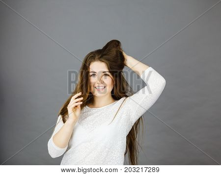 Happy Positive Woman With Long Brown Hair