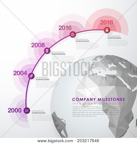 Infographic startup milestones time line vector template.