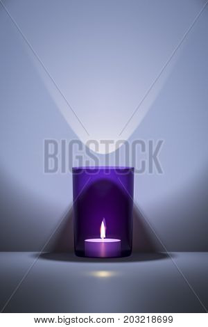 3d illustration of a candle in a purple glass with space for your content