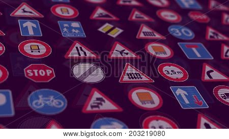 3D Render. Too Many Traffic Signs On Black Background.
