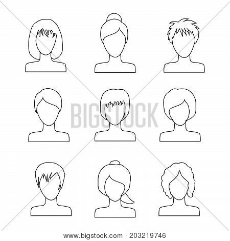 collection of icons of woman in a flat style. female avatars. set of images of young women. vector illustration..