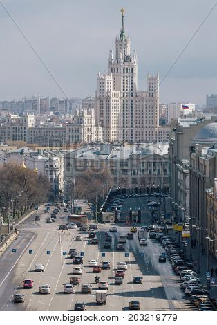 Stalin skyscraper on Kotelnicheskaya quay and highway in Moscow, Russia