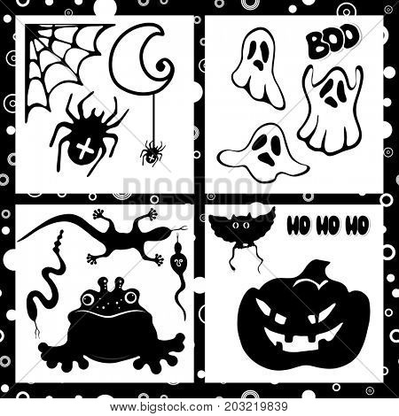 Halloween set with black silhouettes.  Design elements isolated on a white background.