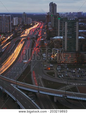 Big road interchange of Third Ring Road in Moscow, Russia at evening