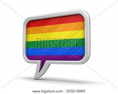 3d Illustration. Speech bubble with LGBT flag. Image with clipping path