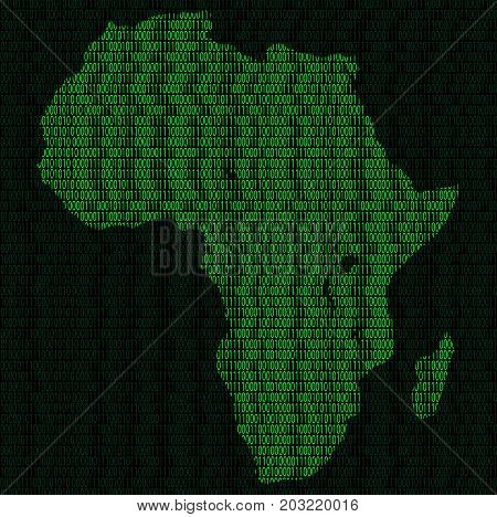 Illustration of silhouette of Africa from binary digits on background of binary digits