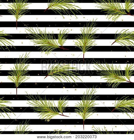 Pine tree branches on black striped background seamless vector pattern. Gold shimmer dust details christmas design wrap.