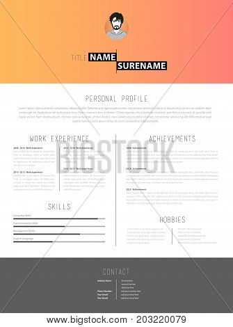 Creative cv template with paper stripes. Vector art