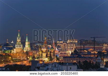 Kremlin, Spassky Towe, Vasilevsky descent and St Basil Cathedral in Moscow, Russia at night