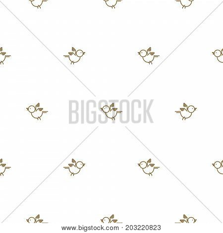 Vintage thin gold line bird seamless pattern vector. Simplistic tender siskin background.