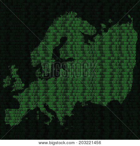 Illustration of silhouette of Europe from binary digits on background of binary digits