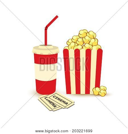 Movie Poster Template. Popcorn, Soda Takeaway, Cinema Tickets. Cinema Design Elements.