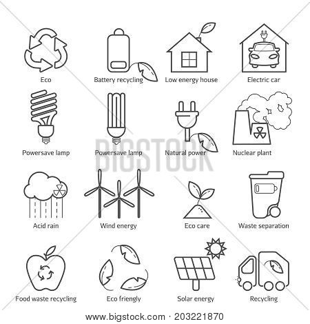 Eco Icons Set. Thin Line Ecological Signs For Infographic, Website Or App. Powersave Lamp, Nuclear P