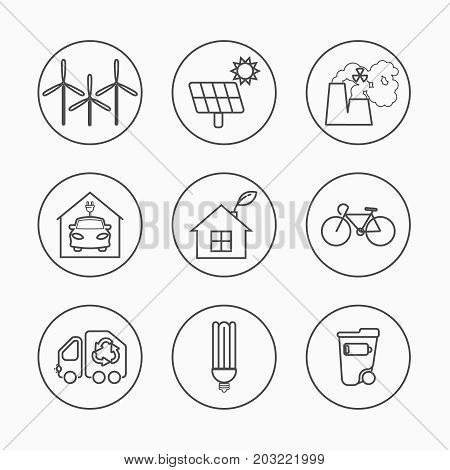 Eco Icons Vector Set. Thin Line Ecological Signs For Infographic, Website Or App. Powersave Lamp, Nu