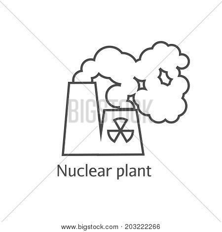 Radioactive Smoke And Nuclear Plant Station Thin Line Icon. Dangerous Anti-ecological Poisonous Sedi