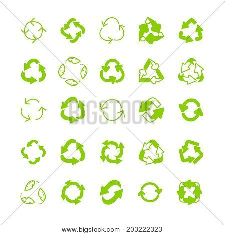Recycling Ecology Thin Line Icon Set.