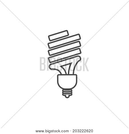 Eco Powersave Lamp Line Icon. Saving Electricity Concept. Ecology Bulb Saves Electricity.