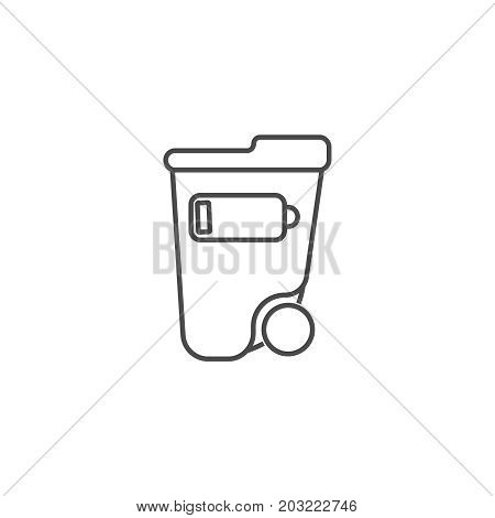 Waste Separation Thin Line Icon. Ecology And Environmental Protection Concept. Eco Dustbin For Low B