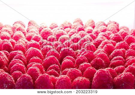 raspberries background close up in freeze camera