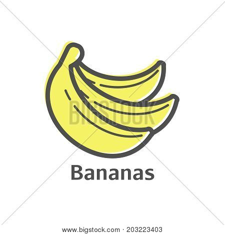 Bananas Thin Line Icon. Isolated Fruit Linear Style For Menu, Label, Logo. Simple Vegetarian Food Si