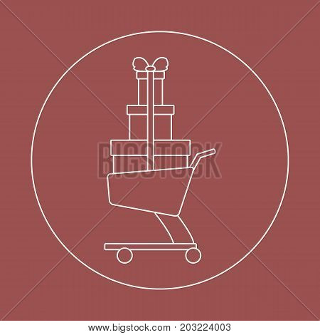 Stylized Icon Of Shopping Cart With Gifts.